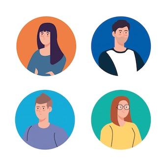 Groep jongeren, vrouwen en man in cirkel