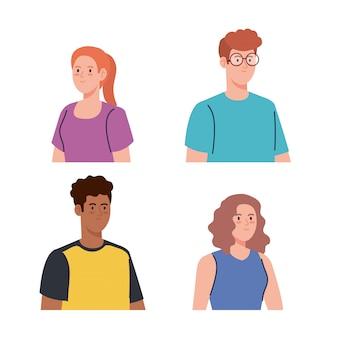Groep jongeren, vrouwen en mannen