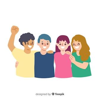 Groep jongerenmensen die samen koesteren