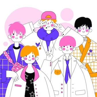Groep k-pop jongensillustratie