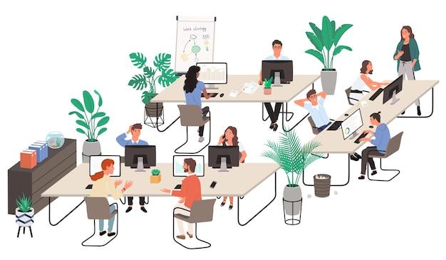 Groep kantoorpersoneel op de werkplek en met elkaar communiceren. cartoon stijl.