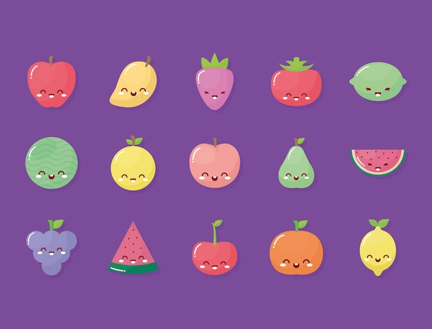 Groep kawaiivruchten met een glimlach op purpere achtergrond.
