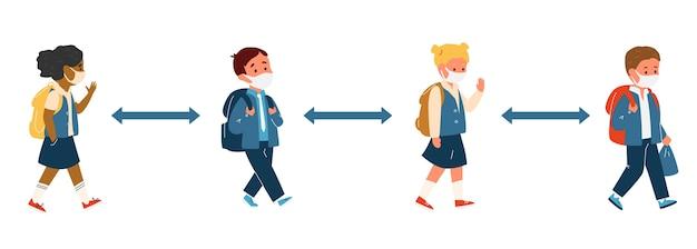 Groep kinderen ander ras in schooluniform