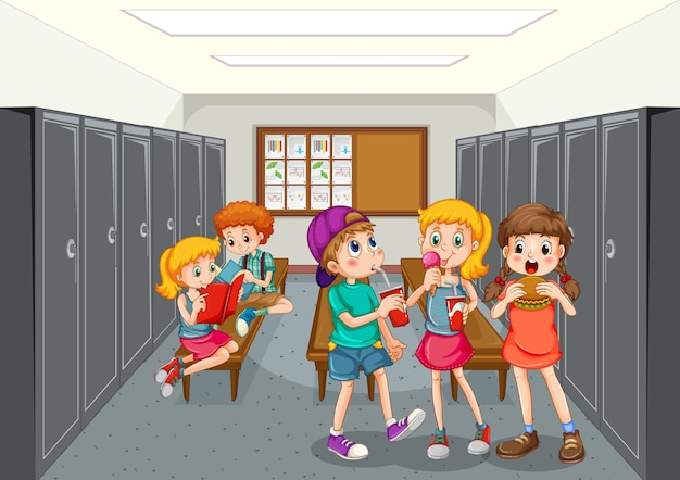 Groep kinderen bij kleedkamer
