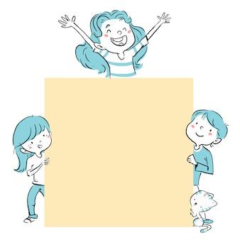 Groep kinderen die een affiche houden