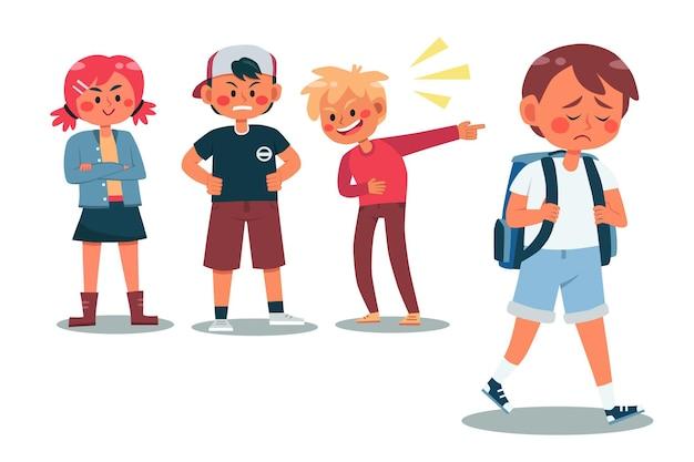 Groep kinderen die een jongen pesten