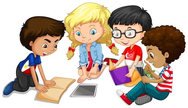 Groep kinderen die huiswerk illustreren