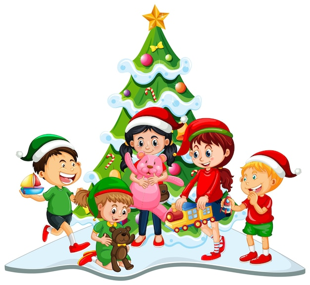 Groep kinderen die kerstmiskostuum op witte achtergrond dragen