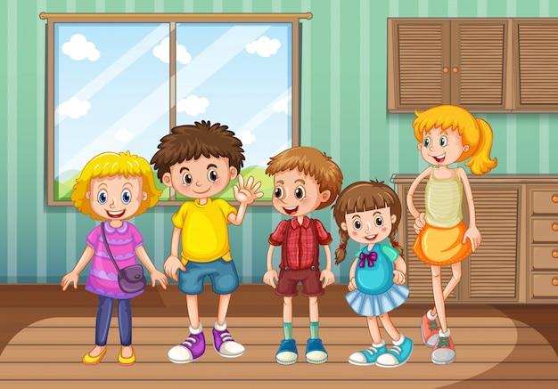 Groep kinderen in de woonkamer