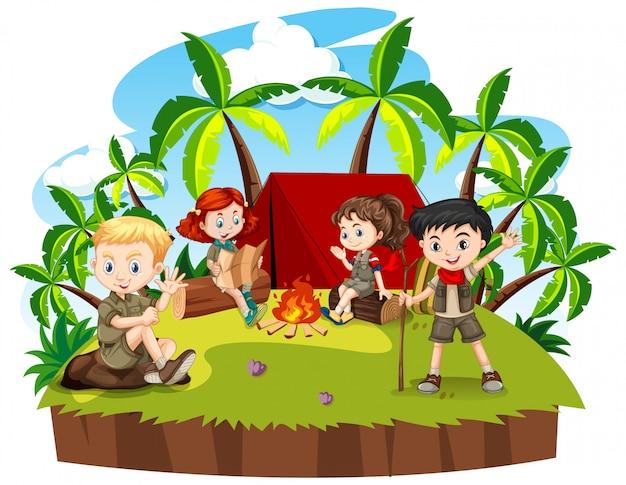 Groep kinderen kamperen