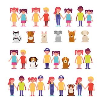 Groep kinderen met huisdieren bundel tekens