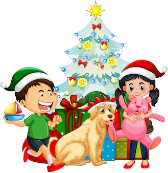 Groep kinderen met hun hond die kerstmiskostuum op witte achtergrond dragen
