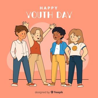 Groep kinderen op hand getrokken stijl het vieren jeugddag op oranje achtergrond