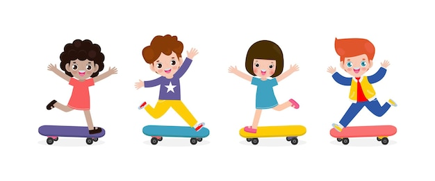 Groep kinderen rijden op skateboards