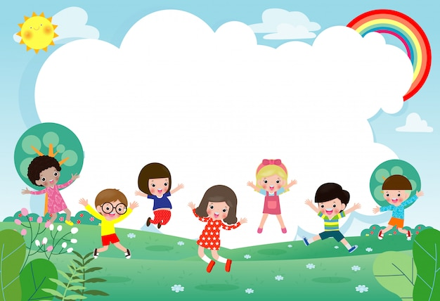 Groep kinderen springen, terug naar school, school voor kinderen, onderwijsconcept, kinderen gaan naar school, sjabloon voor reclamefolder, uw tekst, kinderen en frame, kind en frame, illustratie