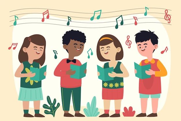 Groep kinderen zingen in een geïllustreerd koor