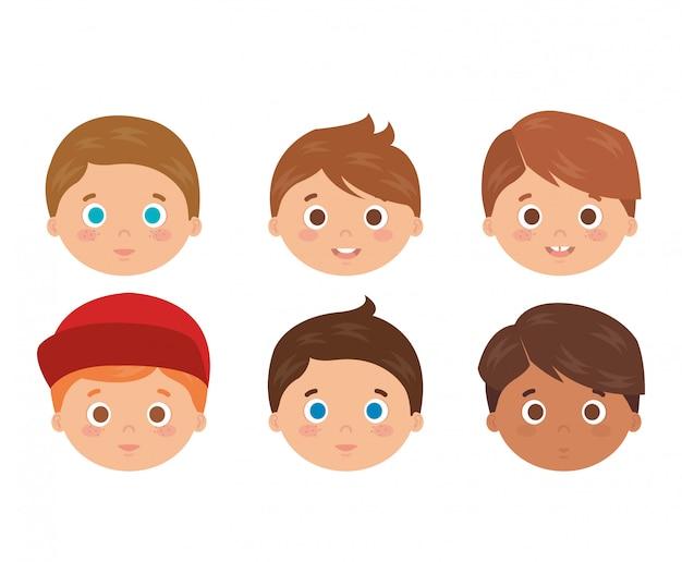 Groep kleine jongens hoofden karakters