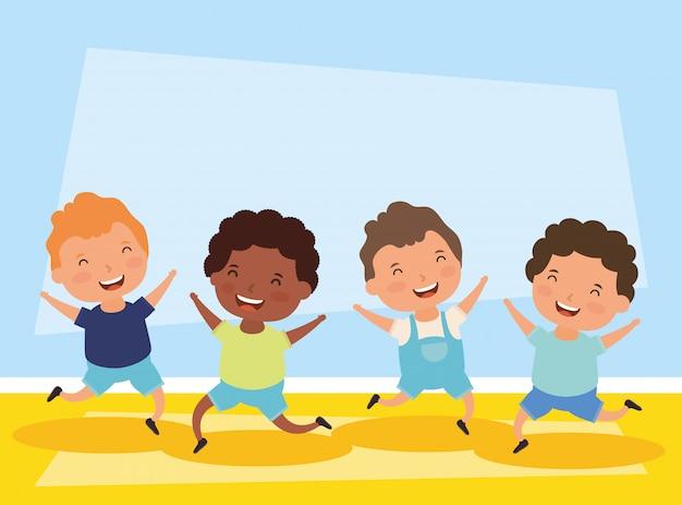Groep kleine karakters tussen verschillende rassen jongens
