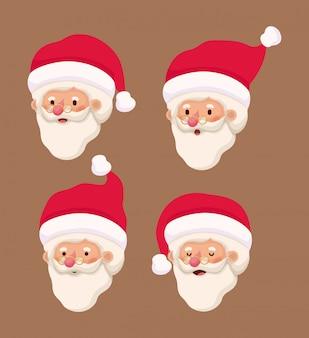 Groep kleine kerstman hoofden tekens