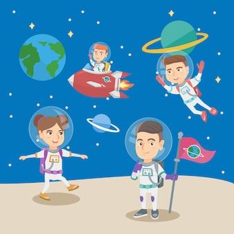 Groep kleine kinderen die in de astronauten spelen