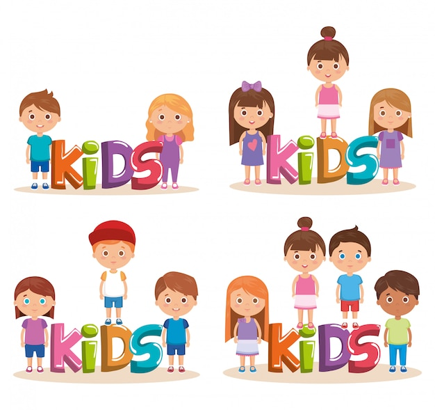 Groep kleine kinderen die met woord spelen