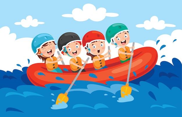 Groep kleine kinderen rafting