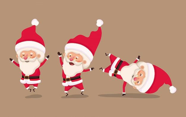 Groep kleine tekens van de kerstman