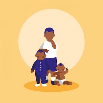 Groep kleine zwarte jongenskarakters