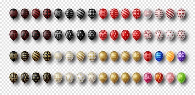 Groep kleurrijke, gouden, zilveren en zwarte glanzende geïsoleerde heliumballons. Premium Vector