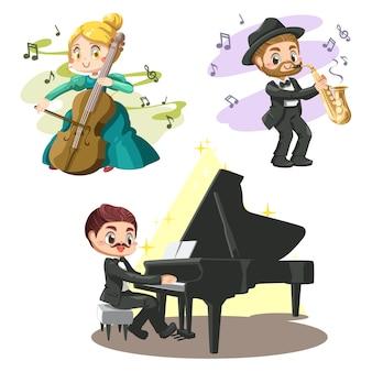 Groep knappe muzikanten spelen piano, saxofoon, en mooi meisje speelt cello