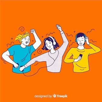 Groep koreaanse tieners die van muziek genieten