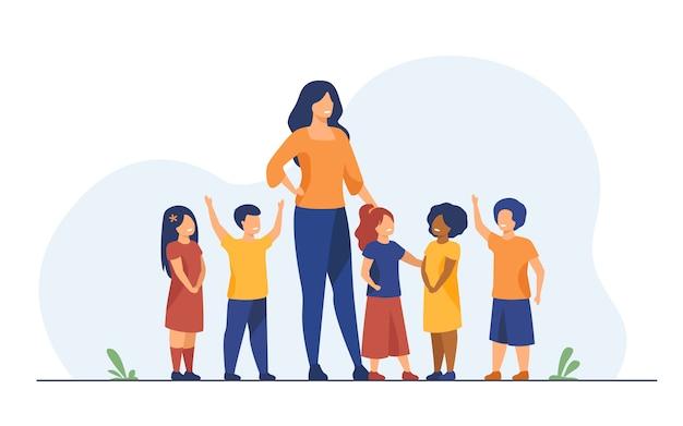 Groep leerlingen met vrouwelijke schoolleraar