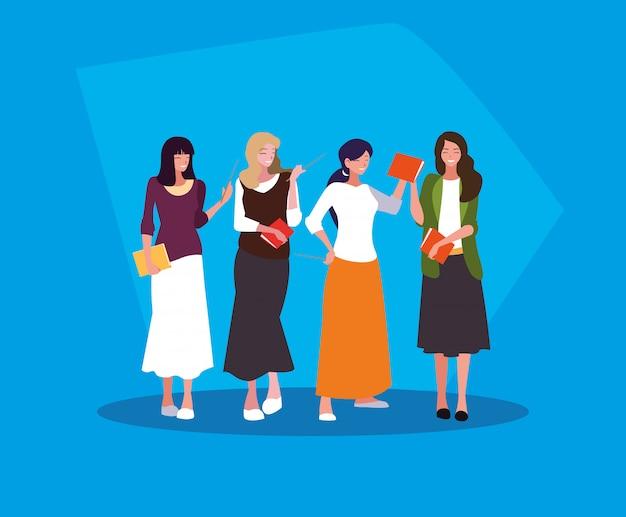 Groep leraren meisjes avatar karakter