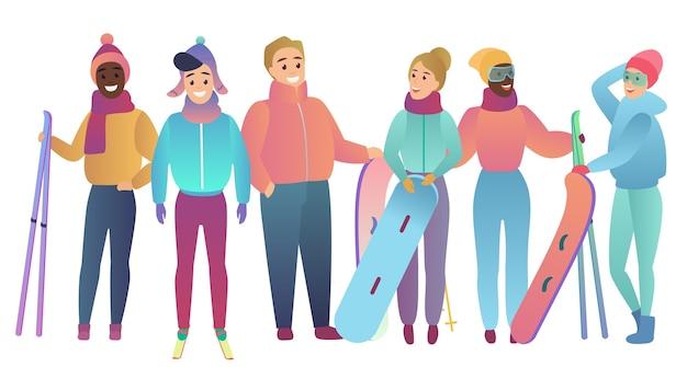 Groep leuke cartoon skiërs en snowboarders jongeren trendy egale kleurverloop