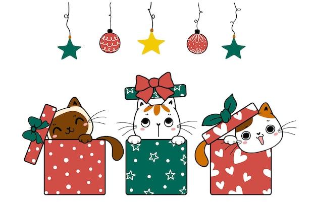 Groep leuke speelse kittenkat zoekt en verstopte zich in kerstdozen cartoon handgetekende doodle plat