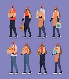 Groep levering mannen en vrouwen pictogrammen afbeelding ontwerp