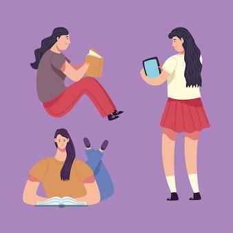 Groep lezersmeisjes die de illustratie van boekenkarakters lezen