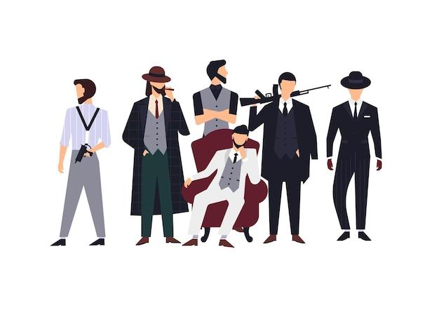 Groep maffialeden of maffiosi gekleed in elegante retro kleding of formele pakken en met vuurwapens. platte mannelijke stripfiguren geïsoleerd op een witte achtergrond. kleurrijke vectorillustratie