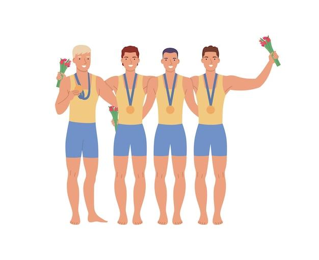 Groep mannelijke atleten met medailles en bloemen platte vectorillustratie