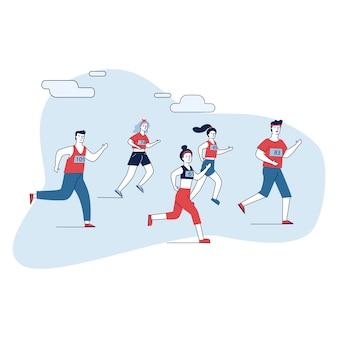 Groep mannelijke en vrouwelijke sportmannen die marathon in werking stellen