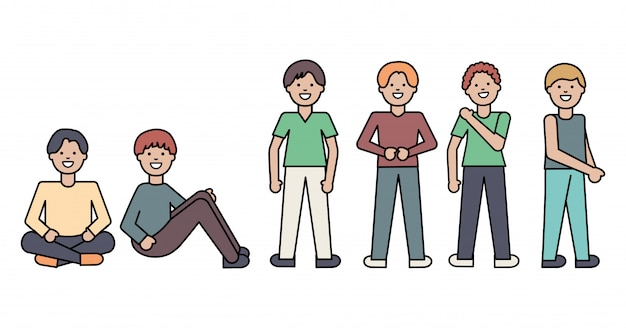 Groep mannen avatars tekens