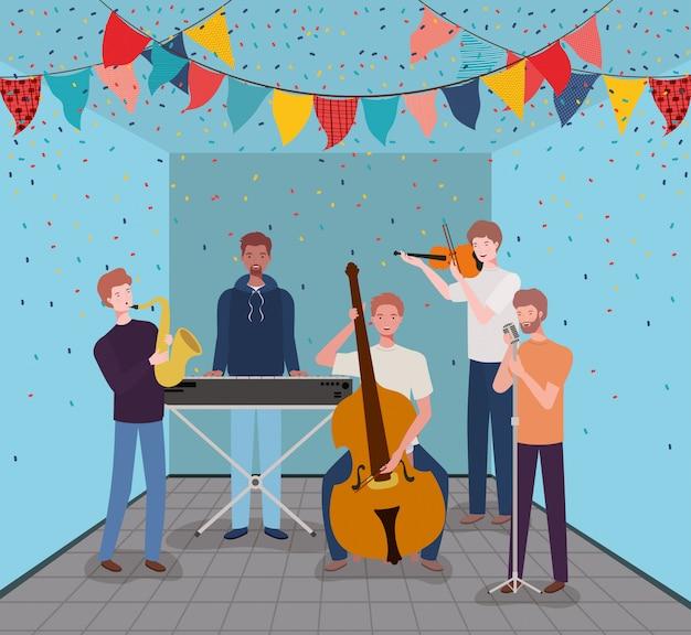 Groep mannen die instrumenten in de kamer spelen