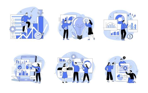 Groep mannen en vrouwen die deelnemen aan een zakelijke bijeenkomst, brainstormen, conferentie en seminar. het concept van loopbaangroei, banensucces en teamwork. overzicht vectorillustraties