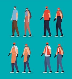 Groep mannen en vrouwen met het ontwerp van de veiligheidsmaskerillustratie