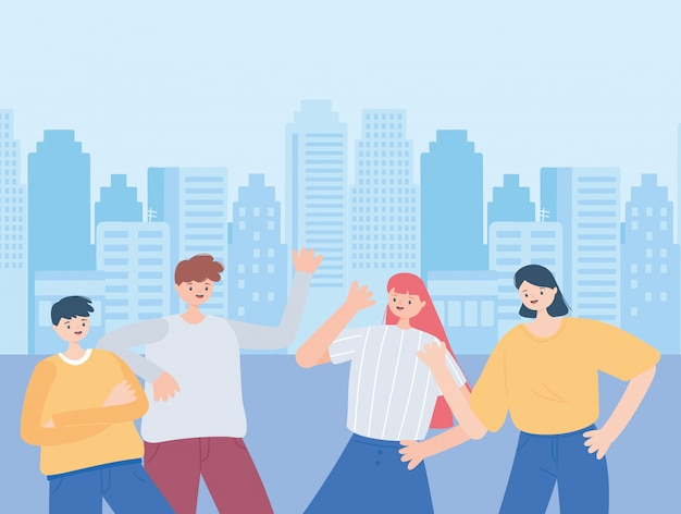 Groep mannen en vrouwen stripfiguren in stad illustratie vieren