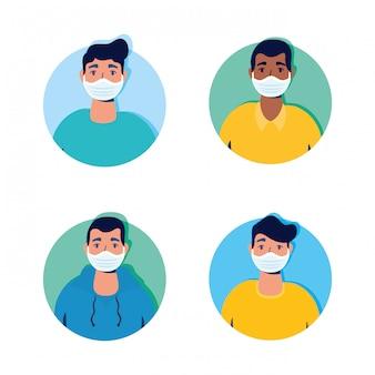 Groep mannen met behulp van gezichtsmaskers tekens