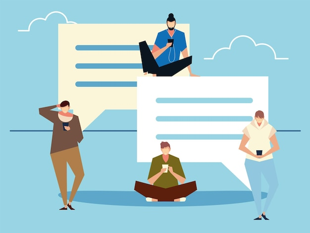 Groep mannen met behulp van smartphone berichten, sms, mensen en gadgets verzenden