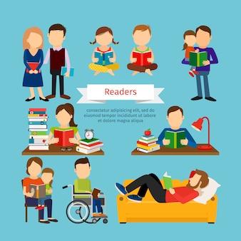 Groep mannen met boeken.