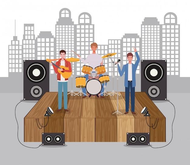 Groep mannen muziekband spelen instrumenten