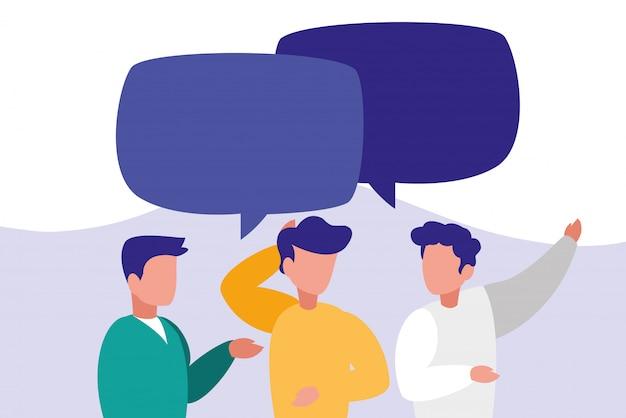 Groep mannen praten karakters